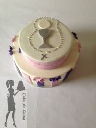 Two tiered First Holy Communion cake
